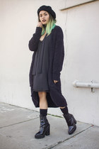black Jeffrey Campbell boots - black slip shift Forever 21 dress