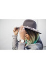 Blue-forever-21-jeans-charcoal-gray-fedora-urban-outfitters-hat