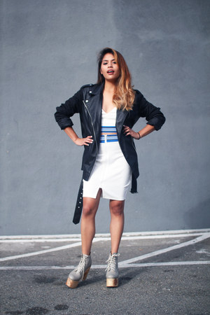 black Forever 21 jacket - white Tobi skirt - white Tobi top