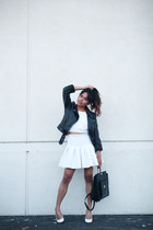 white cropped Dailylook top - black H&M jacket - black thrifted vintage bag