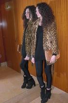 brown coat - black sweater - beige purse - black bracelet - black leggings - bla