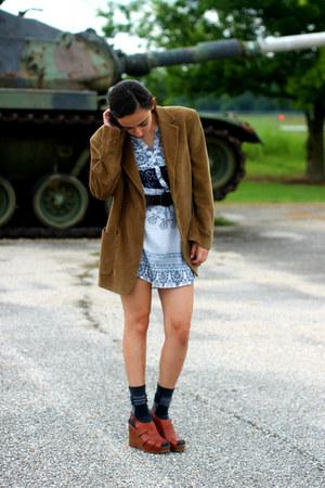 bronze Aldo Conti blazer - white bohemian dress H&M dress