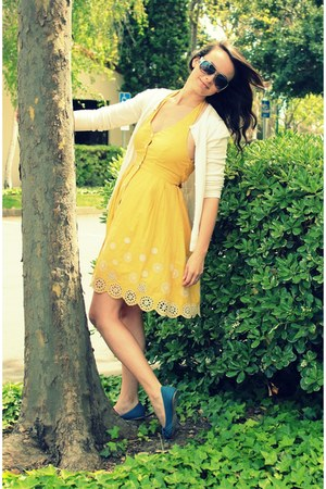 sky blue ZooShoo shoes - yellow Therapy dress - white Target cardigan