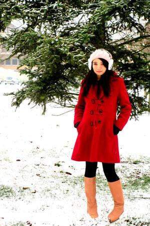 H&M hat - Zara boots - coat - H&M stockings