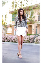 navy floral chiffon banana republic shirt - white wrap Zara skirt