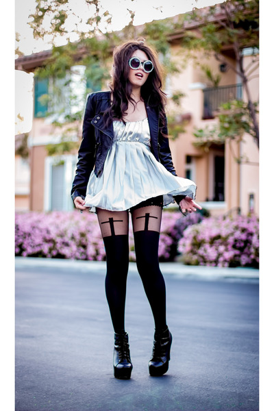 silver metallic Goodwill dress - black lita boots