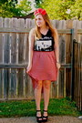 Red-diy-hat-black-thrifted-t-shirt-burnt-orange-cotton-on-skirt