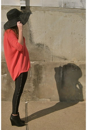 black reformed wedges - black Forever 21 hat - coral Express sweater