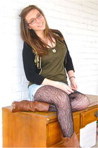green Forever 21 shirt - blue thrifted jeans - black Betsey Johnson tights - bla