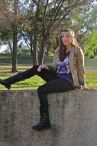 purple old elementary school shirt - gold H&M blazer - black big buddha boots -