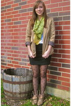 beige texas junk company boots - gold H&M blazer - white Charlotte Russe shirt -