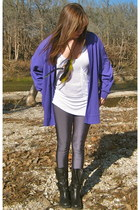 black big buddha boots - charcoal gray American Apparel leggings - deep purple t