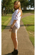white thrifed blouse - black R2 boots - tan cotton on skirt