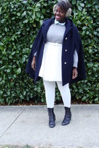 navy cape - heather gray sweater - light blue blouse - ivory skirt - black boots
