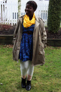 Beige-urban-renewal-coat-gold-scarf-blue-value-village-dress-white-forever