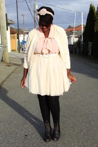 boots - thrifted belt - thrifted skirt - thrifted blouse - hair fascinator Susan