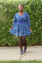 blue dress - blue belt - black ardenes stockings - blue Hot Kiss shoes
