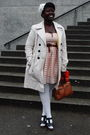 Pink-h-m-dress-beige-suzy-shier-coat-brown-belt-white-deena-and-ozzy-hat-