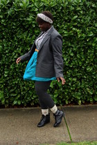 charcoal gray blazer - white shirt - teal skirt - camel Aldo socks - charcoal gr