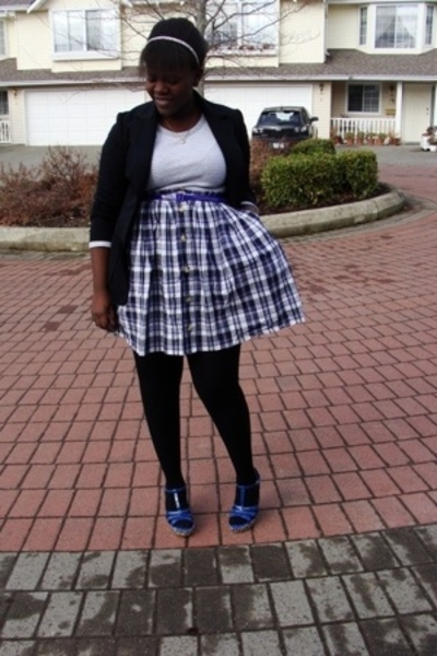 blazer - American Eagle t-shirt - skirt - joe fresh style tights - Hot Kiss shoe