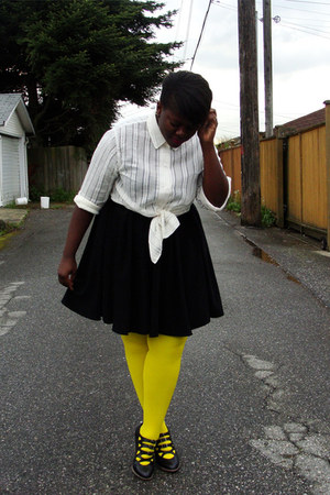 yellow We Love Colors tights - ivory shirt - black thrifted skirt