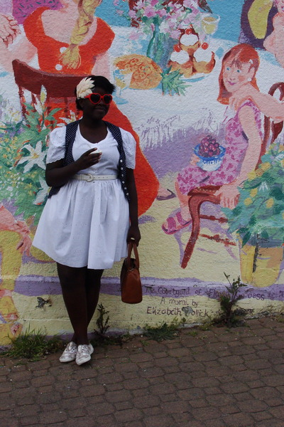 white thrifted dress - brown keds shoes - red ardenes sunglasses