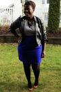 White-t-shirt-blue-skirt-black-value-village-jacket-black-american-apparel