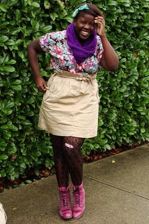 maroon thrifted top - maroon thrifted Laredo boots - brown joe fresh style skirt