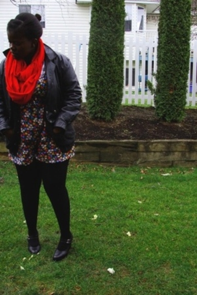 jacket - LO scarf - - sweater - Cleo stockings - Aldo shoes