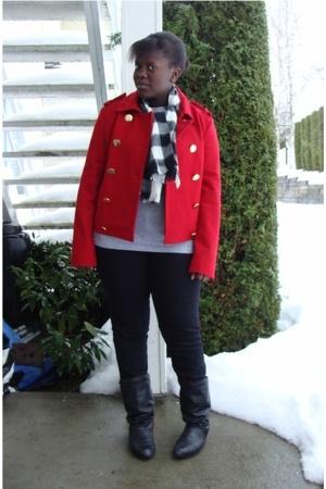 joe fresh style jacket - scarf - t-shirt - Warehouse One jeans - boots