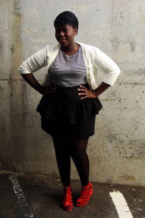 white Forever 21 cardigan - white t-shirt - black Nenee skirt - black American A
