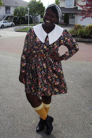 black thrifted dress - black boots - gold rummage sale American Apparel socks