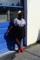 white shirt - black Old Navy skirt - orange H&M shoes