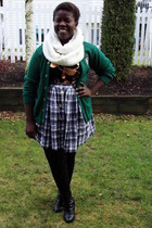 green Value VillageVal cardigan - purple Value Village skirt - black t-shirt - w