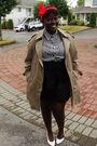 White-shirt-beige-urban-renewal-coat-black-nenee-skirt-white-shoes