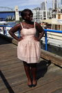 Pink-h-m-dress-black-forever-21-shoes-brown-sunglasses