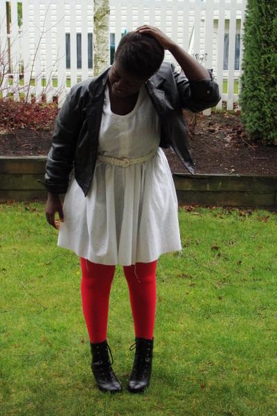 red joe stockings - black jacket - white dress - black Fioni boots - white belt