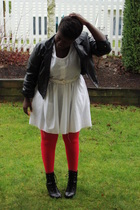 red joe stockings - black jacket - white dress - black Fioni boots - white belt