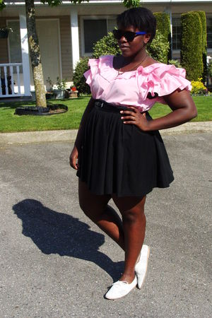 pink Value Village shirt - white leather oxfords shoes - black Old Navy skirt