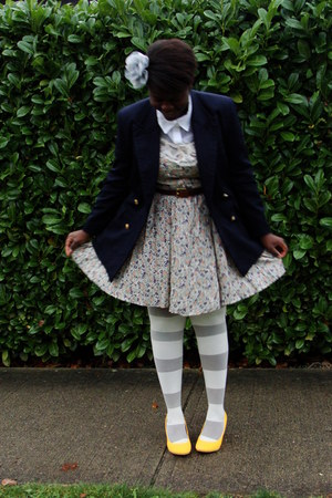 navy blazer - cream Staring at Stars dress - yellow Co-Operative shoes