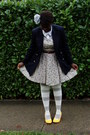 Navy-blazer-cream-staring-at-stars-dress-yellow-co-operative-shoes