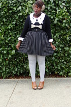 light brown H&M accessories - black joe fresh style sweater - white blouse - bla