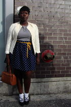 beige Salvation Army jacket - white Value Village t-shirt - blue skirt - gold Am