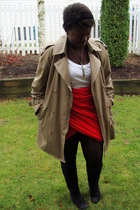 red skirt - black Value Village boots - beige Urban Renewal jacket