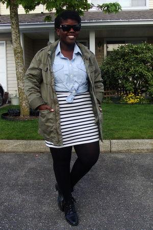 green Bluenotes coat - black boots - white as a skirt H&M dress