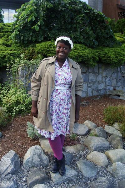 white hat - white dress - beige Urban Renewal coat - purple Urban Outfitters sto
