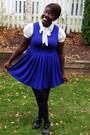 Blue-forever-21-dress-cream-h-m-blouse-black-hue-stockings-black-old-navy-