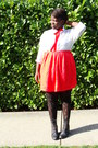Navy-coat-white-h-m-shirt-red-skirt-black-boots