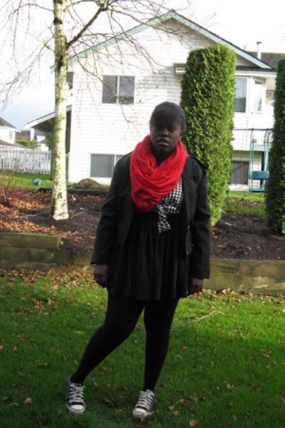scarf - dress - jacket - shirt - Chuck Taylors shoes