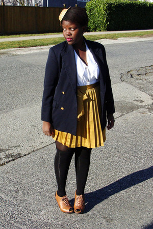 navy blazer - black over the knee H&M socks - mustard Gap skirt - cream blouse -